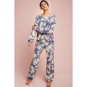 Anthro Floreat Brushed Fleece Pajama Set XS/S